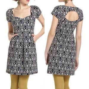 Deletta caledonia cutout damask print dress